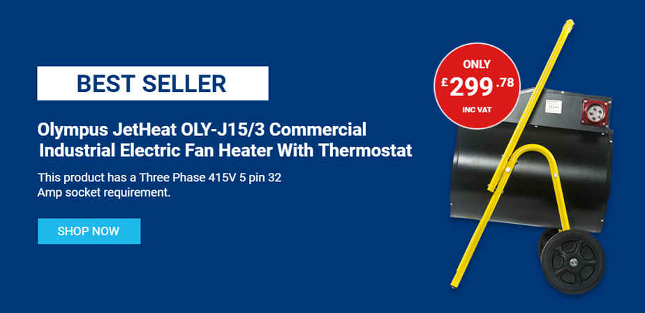 Olympus Appliances JetHeat series of portable commercial / industrial electric fan heaters are designed for use in workshops, schools, warehouses, nurseries, showrooms, storage rooms, construction sites and containers.