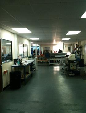 The print room was a open plan area with 5 printer beds printing 24hrs a day.